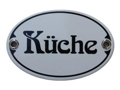 Türschild Küche 7 x 10,5 cm oval Emaille Schild Jugendstil (ohne Holzrahmen) Nr. 1250