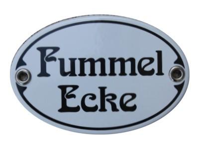 Türschild Fummel Ecke 7 x 10,5 cm oval Emaille Schild Jugendstil (ohne Holzrahmen) Nr. 1545