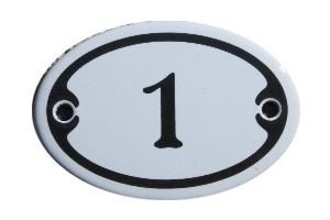 Nummer 1 mini Emailschild Jugendstil 4,2 x 6,2 cm oval weiß Nr. 4201