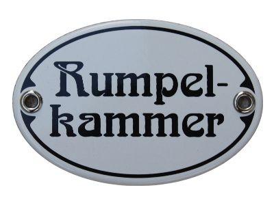 Türschild Rumpelkammer 7 x 10,5 cm oval Emaille Schild Jugendstil (ohne Holzrahmen) Nr. 1889