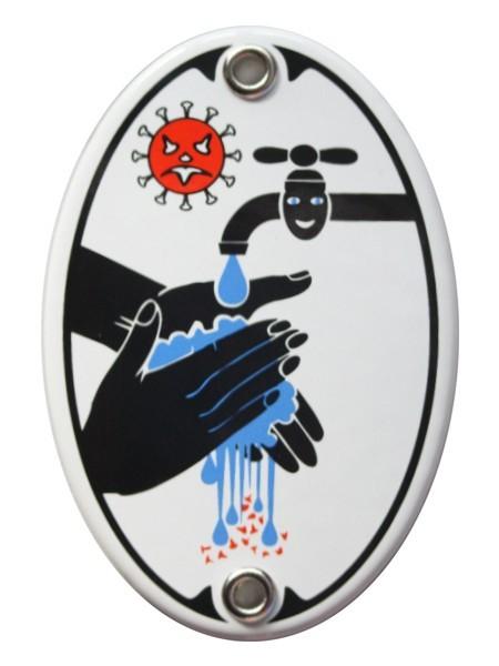 Türschild Hände Waschen Desinfektion Achtung Virus 7 x 10,5 cm oval Emaille Schild Jugendstil