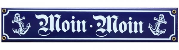 Moin Moin Emaille Schild 8 x 40 cm Emailschild blau Nr. 3444