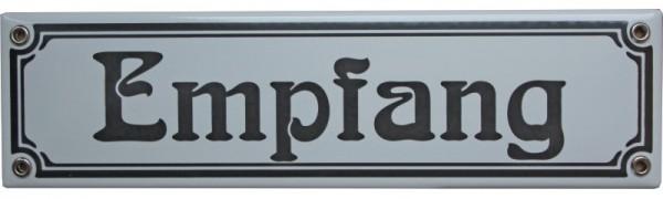 Empfang Jugendstil 8 x 30 cm Emaille Schild Nr. 1094
