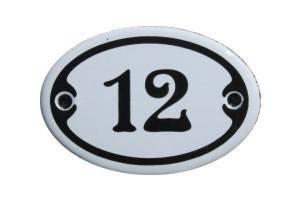 Nummer 12 mini Emailschild Jugendstil 4,2 x 6,2 cm oval weiß Nr. 4212
