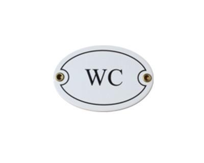 Türschild WC oval 7 x 10,5 cm Emaille Schild ( ohne Holzrahmen) Nr. 1807