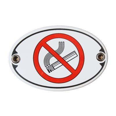 Türschild Nichtraucher 7 x 10,5 cm oval Emaille Schild Jugendstil (ohne Holzrahmen) Nr. 1048