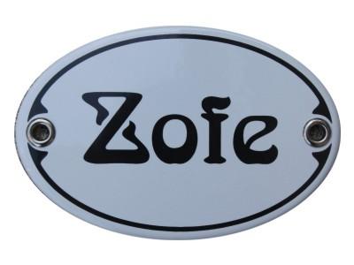Türschild Zofe 7 x 10,5 cm oval Emaille Schild Jugendstil (ohne Holzrahmen) Nr. 1254