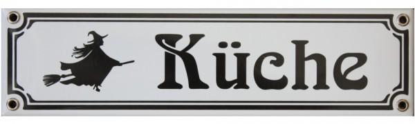 Hexenküche Jugendstil 8 x 30 cm Emaille Schild Nr. 3406