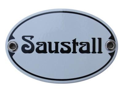Türschild Saustall 7 x 10,5 cm oval Emaille Schild Jugendstil (ohne Holzrahmen) Nr. 1256