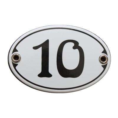 Nummer 10 Emailschild Jugendstil 7 x 10,5 cm oval weiß (ohne Holzrahmen) Nr. 1070