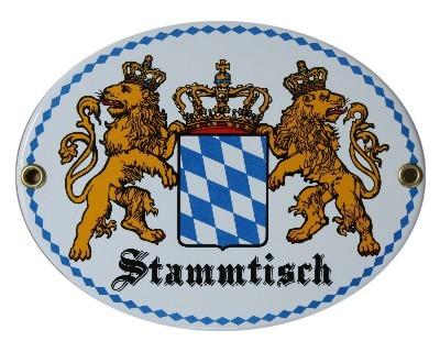 Bayerischer Stammtisch Emaille Schild Oval Nr. 2984