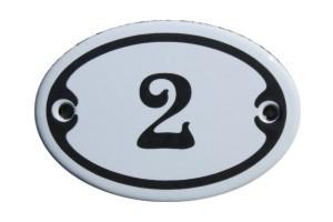 Nummer 2 mini Emailschild Jugendstil 4,2 x 6,2 cm oval weiß Nr. 4202