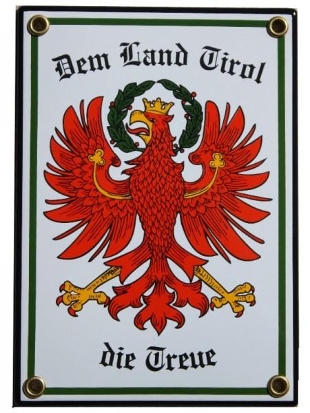 Tirol Emaille Schild Dem Land Tirol die Treue mit Adler 12 x 17 cm weiß Emailschild. Nr.1339
