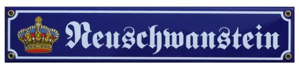 Neuschwanstein mit Krone 8 x 40 cm Emaille Schild Nr. 1307