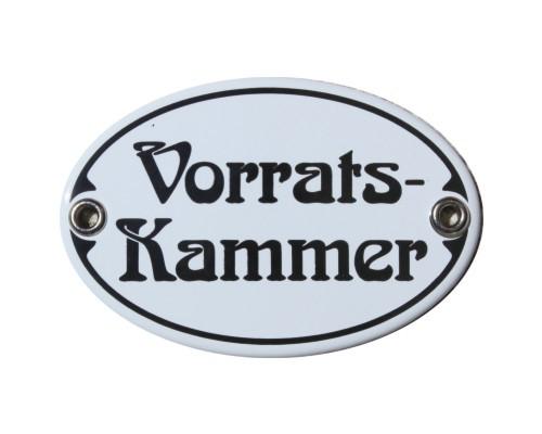 Türschild Vorratskammer 7 x 10,5 cm oval Emaille Schild Jugendstil (ohne Holzrahmen) Nr. 1134