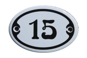 Nummer 15 mini Emailschild Jugendstil 4,2 x 6,2 cm oval weiß Nr. 4215