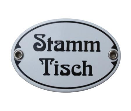 Türschild Stammtisch 7 x 10,5 cm oval Emaille Jugendstil (ohne Rahmen) Nr. 1031