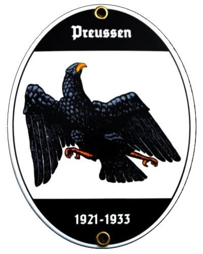 Preussen 1921 - 1933 Emailschild 15 x 11,5 cm oval Preußen Emaille Schild (ohne Holzrahmen) Nr. 1316
