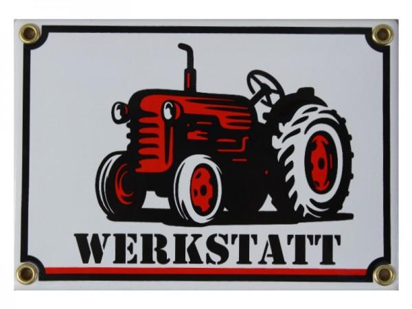 Werkstatt Traktor Emaille Schild 17 x 12 cm Emailschild weiß Nr.1104