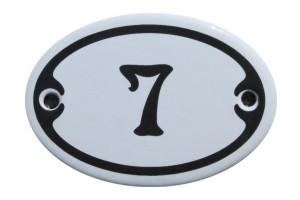 Nummer 7 mini Emailschild Jugendstil 4,2 x 6,2 cm oval weiß Nr. 4207