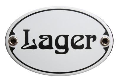 Türschild Lager 7 x 10,5 cm oval Emaille Schild Jugendstil (ohne Holzrahmen) Nr. 1059