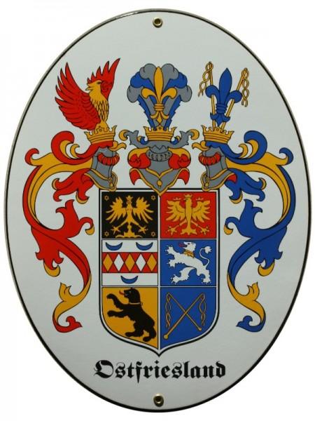 Ostfriesland 28,5 x 37,5 cm Emaille Schild Nr. 1360