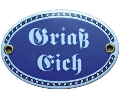 Türschild Griaß Eich mit Kordelrahmen Emaille Schild oval 7 x 10,5 cm Email blau Nr. 1087
