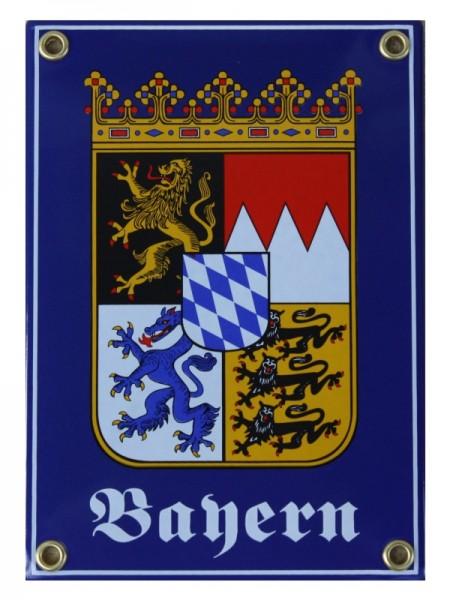 Bayern mit Wappen Emaille Schild 12 x 17 cm Emailschild blau Nr. 715