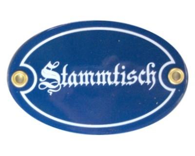 Stammtisch oval 7 x 10,5 cm Emailschild (ohne Holzrahmen) Nr. 2002