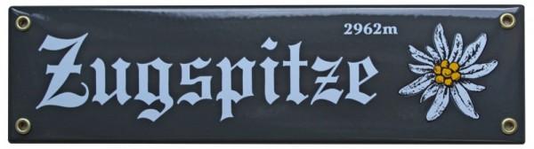 Zugspitze 2962 m mit Edelweiß Emaille Schild 8 x 30 cm Emailschild grau Nr. 1099