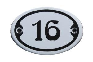 Nummer 16 mini Emailschild Jugendstil 4,2 x 6,2 cm oval weiß Nr. 4216