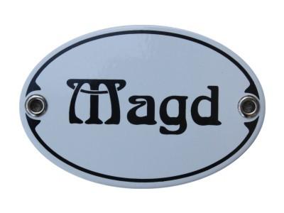 Türschild Magd 7 x 10,5 cm oval Emaille Schild Jugendstil (ohne Holzrahmen) Nr. 1251