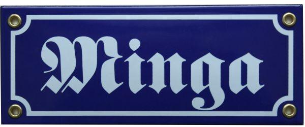 Minga Emaille Schild 8 x 20 cm Emailschild blau Nr. 1209