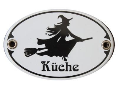 Türschild Hexenküche 7 x 10,5 cm oval Emaille Schild Jugendstil (ohne Holzrahmen) Nr. 3404
