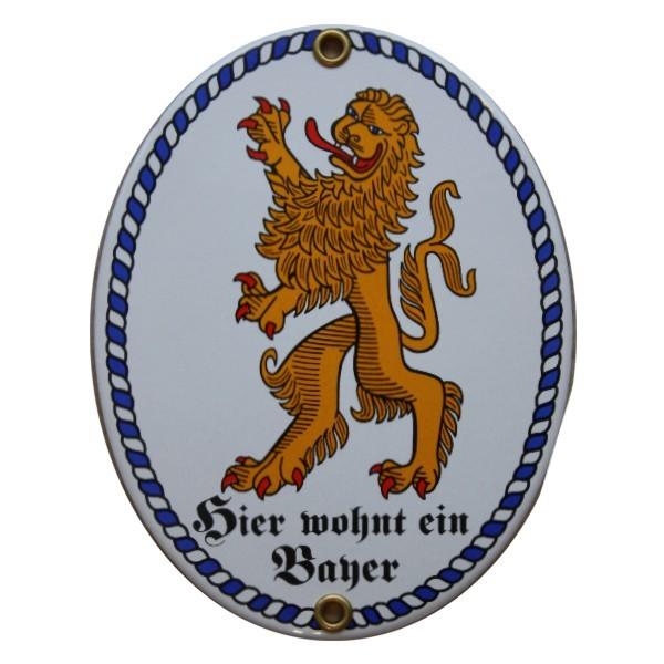 Hier wohnt ein Bayer Emaille Schild Nr. 1688