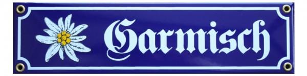 Garmisch mit Edelweiß Emaille Schild Nr. 756