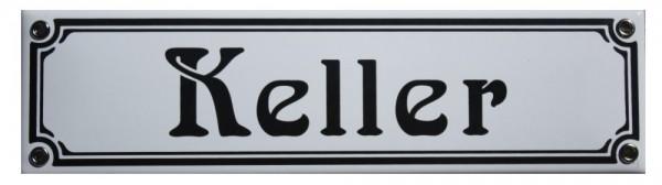 Keller Jugendstil 8 x 30 cm Emaille Schild weiß Nr. 1305