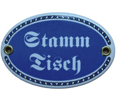 Türschild Stamm Tisch mit Kordelrahmen Emaille Schild oval 7 x 10,5 cm Email blau Nr. 1089
