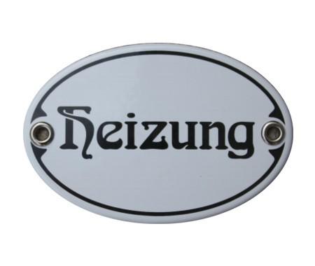 Türschild Heizung 7 x 10,5 cm oval Emaille Schild Jugendstil (ohne Holzrahmen) Nr. 1027