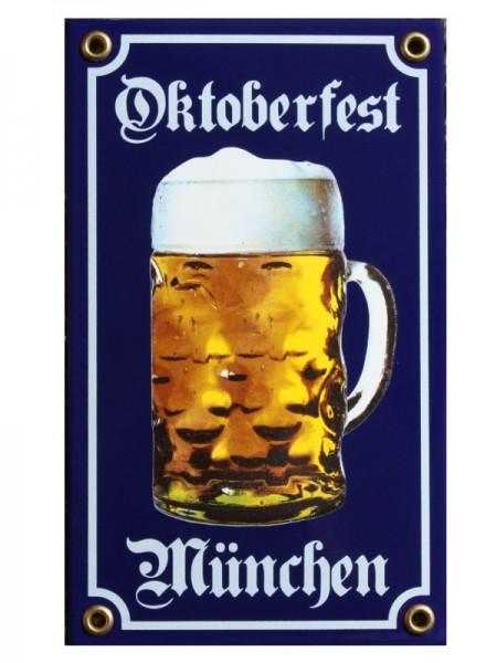 Oktoberfest München Bier Krug Emaille Schild 12 x 20 cm blau Nr. 835