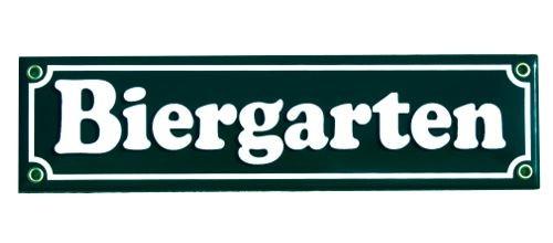 Biergarten Emaille Straßenschild dunkelgrün Nr. 1737 D