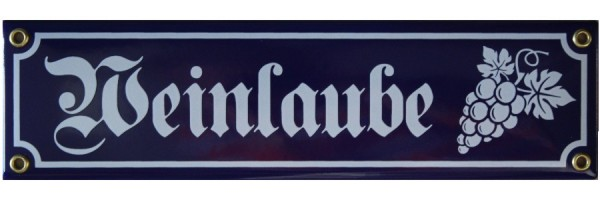 Weinlaube mit Trauben Emaille Schild blau Nr. 3323