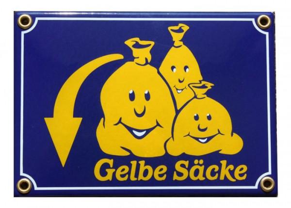 Gelbe Säcke 12 x 17 cm Gag Emaille Schild Nr.1002