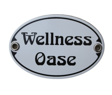 Türschild Wellness Oase 7 x 10,5 cm oval Emaille Jugendstil (ohne Holzrahmen) Nr. 1023