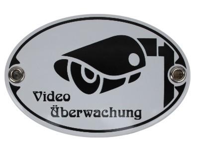 Türschild Video Überwachung 7 x 10,5 cm oval Emaille Schild Jugendstil (ohne Holzrahmen) Nr. 1106