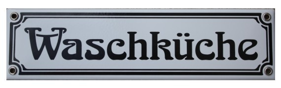 Waschküche Jugendstil 8 x 30 cm Emaille Schild Nr. 1025