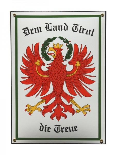 Tirol Emaille Schild Dem Land Tirol die Treue mit Adler 28,5 x 40 cm weiß Emailschild. Nr.3046