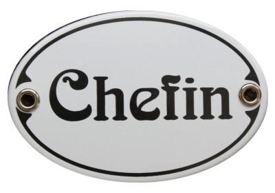 Türschild Chefin 7 x 10,5 cm oval Emaille Schild Jugendstil (ohne Holzrahmen) Nr. 1454
