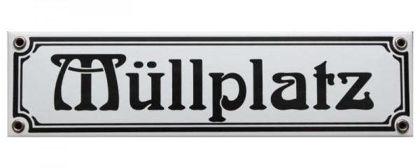 Müllplatz Jugendstil 8 x 30 cm Emaille Schild Nr. 1138
