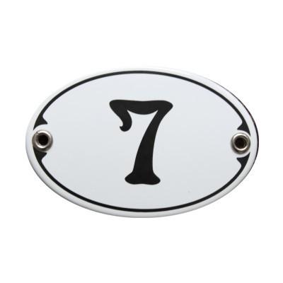 Nummer 7 Emailschild Jugendstil 7 x 10,5 cm oval weiß (ohne Holzrahmen) Nr. 1077